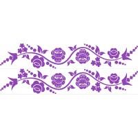 Kalocsai virágos kerékpár matrica, lila (1 pár)