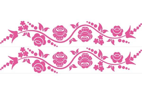 Kalocsai virágos kerékpár matrica, pink (1 pár)