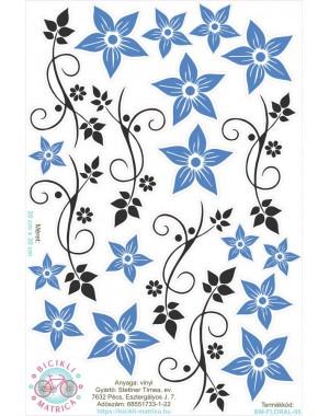Vintages virágos kerékpár matrica, kék
