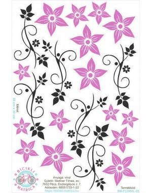 Vintages virágos kerékpár matrica, lila