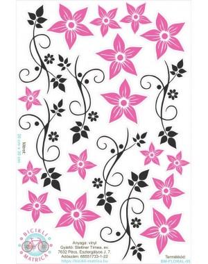 Vintages virágos kerékpár matrica, pink