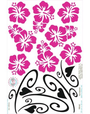 Hawaii virágos bicikli matrica, magenta