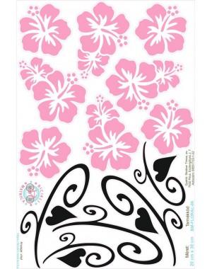 Hawaii virágos bicikli matrica, rózsaszín