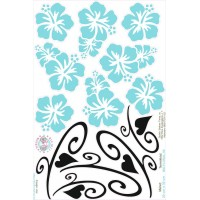 Hawaii virágos bicikli matrica, türkiz