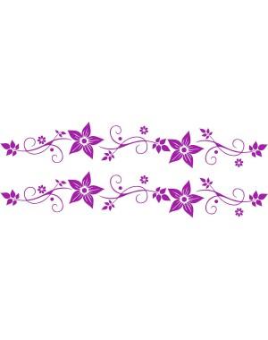 Bicikli matrica, virágos, orgona lila (2 db)