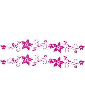 Bicikli matrica, virágos, pink (2 db)